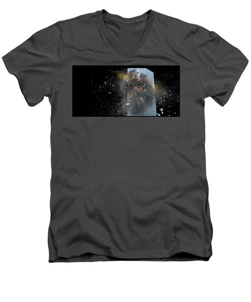 Men's V-Neck T-Shirt featuring the digital art Building_explosion by Marcia Kelly