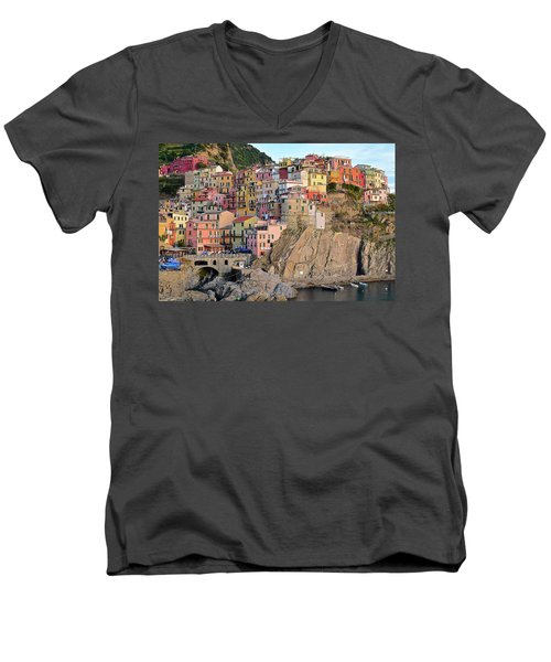 Men's V-Neck T-Shirt featuring the photograph Built On The Slope by Frozen in Time Fine Art Photography