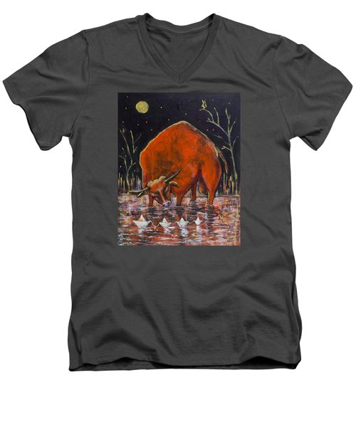 Bull And Paper Boats Men's V-Neck T-Shirt by Maxim Komissarchik