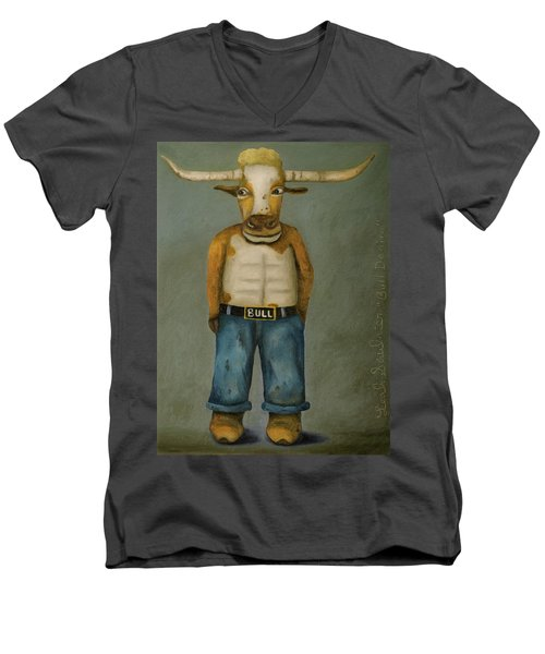 Men's V-Neck T-Shirt featuring the painting Bull Denim by Leah Saulnier The Painting Maniac