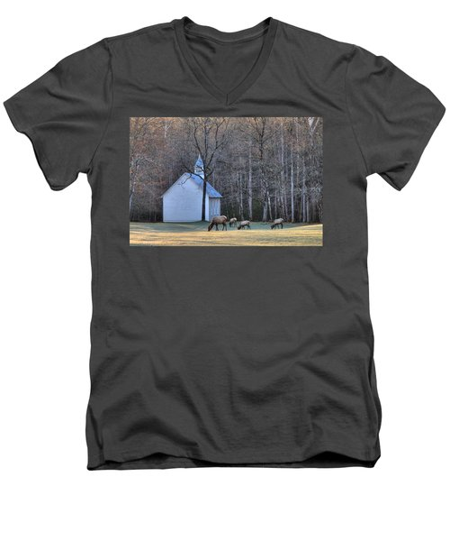 Bull Elk Attending Palmer Chapel  In The Great Smoky Mountains National Park Men's V-Neck T-Shirt