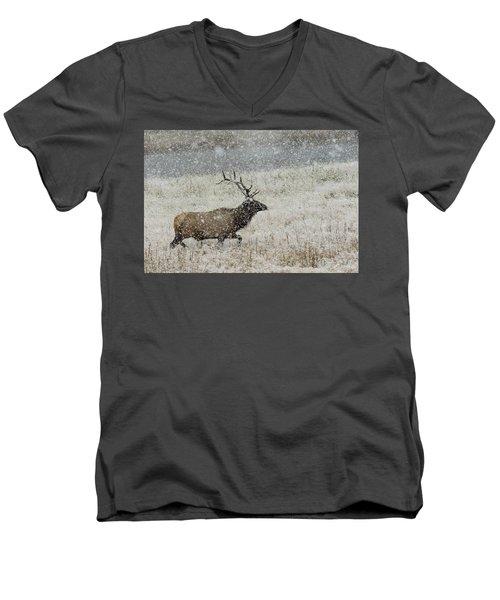 Bull Elk With Snow Men's V-Neck T-Shirt