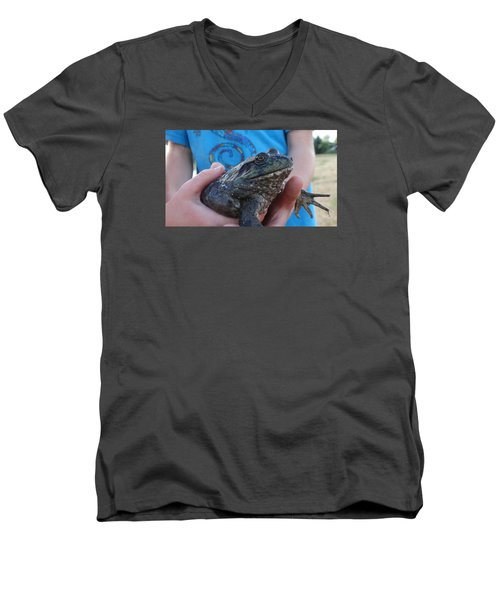 Men's V-Neck T-Shirt featuring the photograph Bull  by Eric Dee