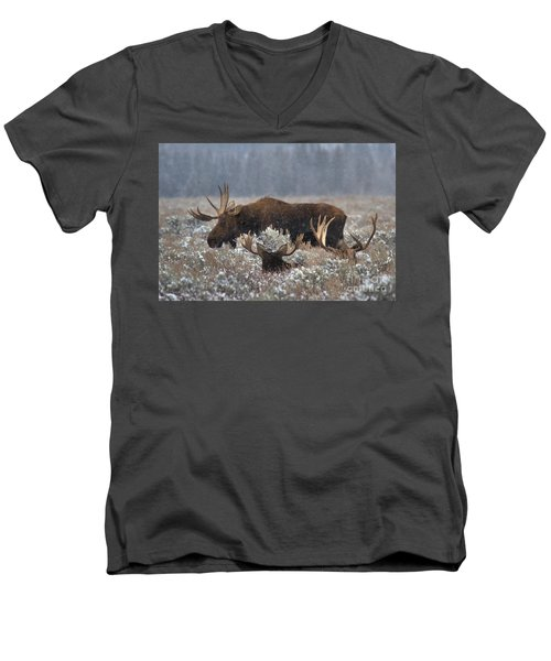 Men's V-Neck T-Shirt featuring the photograph Bull Moose In The Snowy Meadow by Adam Jewell