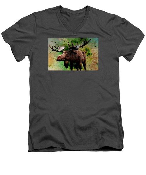 Bull Moose Men's V-Neck T-Shirt by Robin Regan