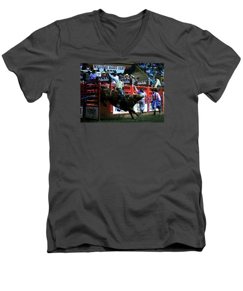 Bull Riding At The Grand National Rodeo Men's V-Neck T-Shirt