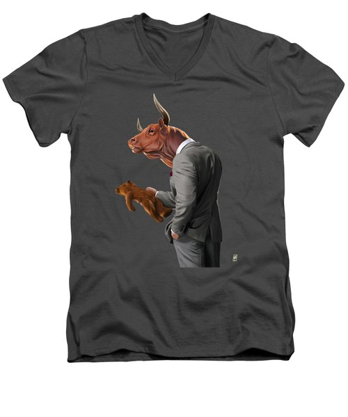 Men's V-Neck T-Shirt featuring the drawing Bull by Rob Snow