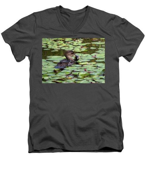 Bullfrog For Breakfast Men's V-Neck T-Shirt by I'ina Van Lawick