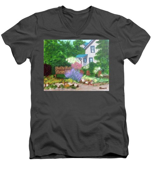 Men's V-Neck T-Shirt featuring the painting Bully Hill Vineyard by Cynthia Morgan