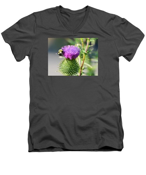 Men's V-Neck T-Shirt featuring the photograph Bumble Bee And Purple Thistle  by Lyle Crump