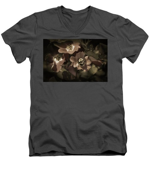 Bumblebee On Blush Country Rose In Sepia Tones Men's V-Neck T-Shirt