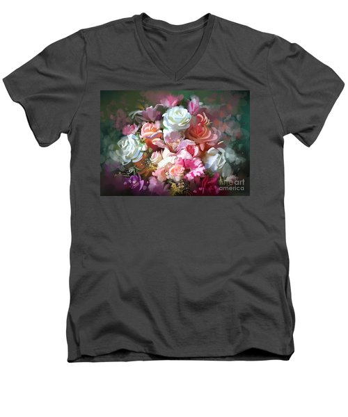 Bunch Of Roses Men's V-Neck T-Shirt