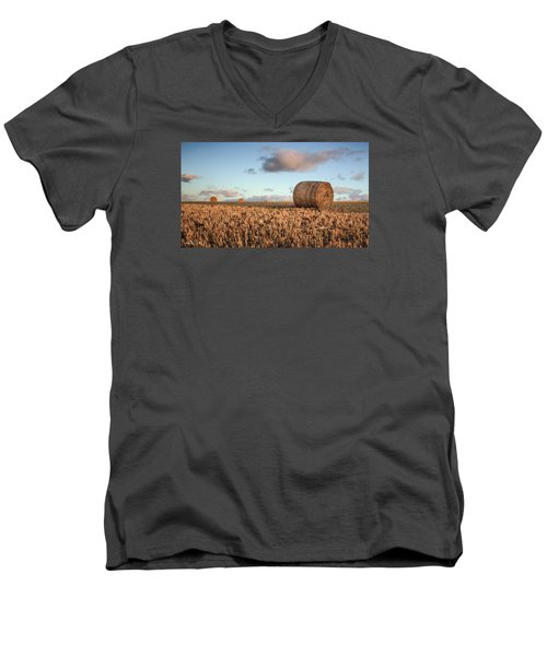 Bundy Hay Bales #7 Men's V-Neck T-Shirt by Brad Grove