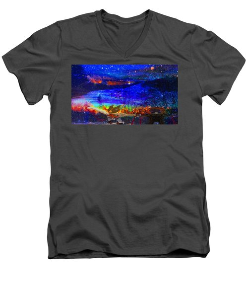 Men's V-Neck T-Shirt featuring the painting Bunnies At The Slopes by Mike Breau