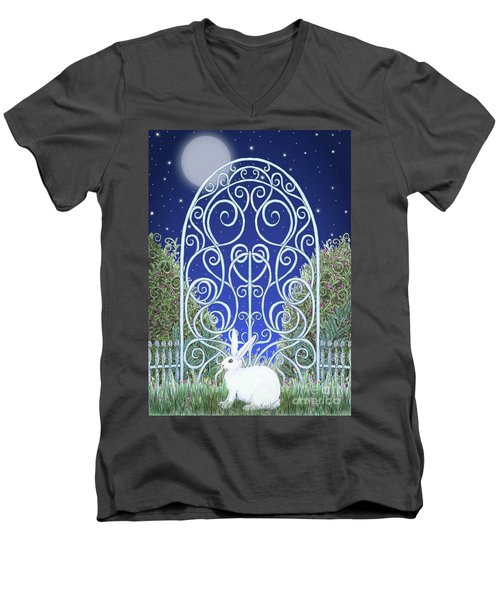 Bunny, Gate And Moon Men's V-Neck T-Shirt