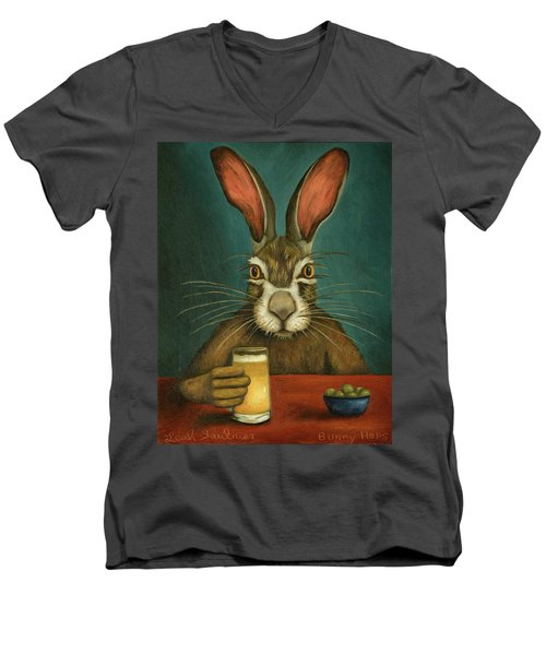 Men's V-Neck T-Shirt featuring the painting Bunny Hops by Leah Saulnier The Painting Maniac