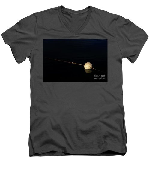 Men's V-Neck T-Shirt featuring the photograph Buoy At Night by Stephen Mitchell