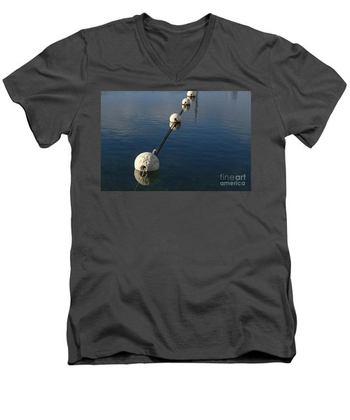 Men's V-Neck T-Shirt featuring the photograph Buoys In Aligtnment by Stephen Mitchell