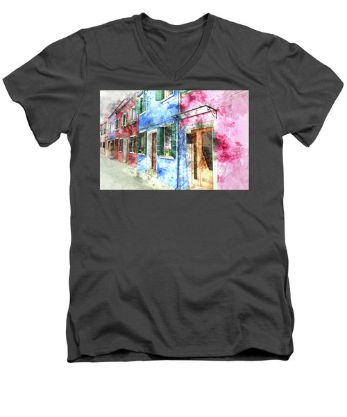 Burano Italy Buildings Men's V-Neck T-Shirt
