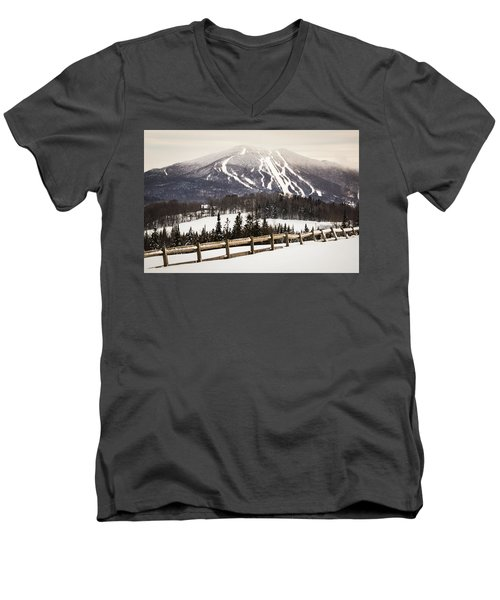 Burke Mountain And Fence Men's V-Neck T-Shirt