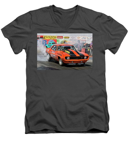 Burn Out Cooper Racing Men's V-Neck T-Shirt