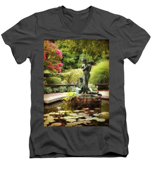 Burnett Fountain Garden Men's V-Neck T-Shirt