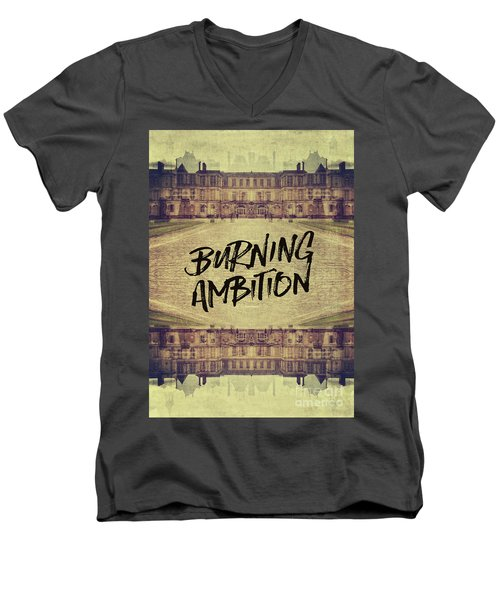 Burning Ambition Fontainebleau Chateau France Architecture Men's V-Neck T-Shirt