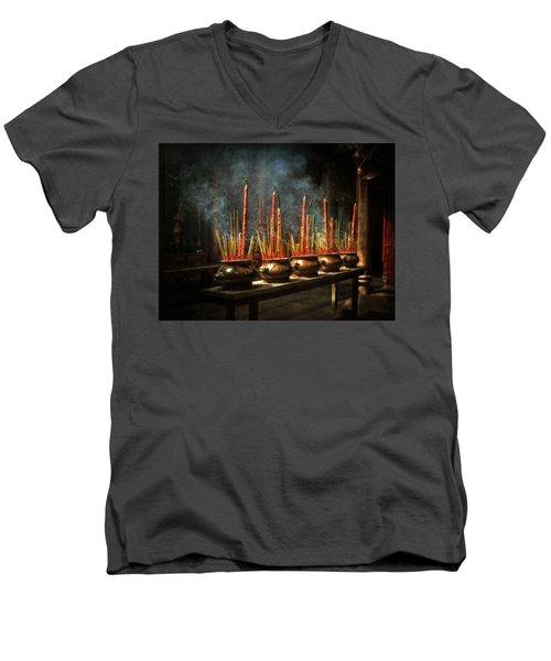 Burning Incense Men's V-Neck T-Shirt