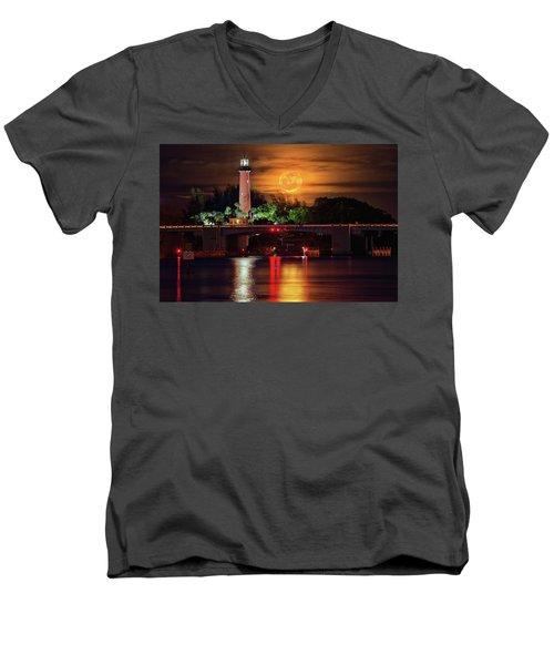 Burning Moon Rising Over Jupiter Lighthouse Men's V-Neck T-Shirt by Justin Kelefas