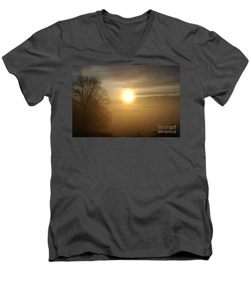 Burning Off The Fog Men's V-Neck T-Shirt by Annlynn Ward