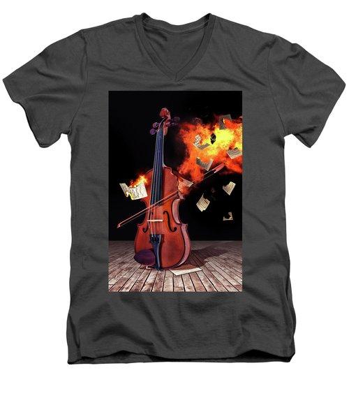 Burning With Music Men's V-Neck T-Shirt