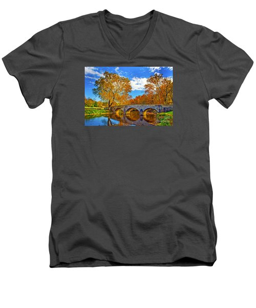 Burnside Bridge At Antietam Men's V-Neck T-Shirt by Paul W Faust -  Impressions of Light