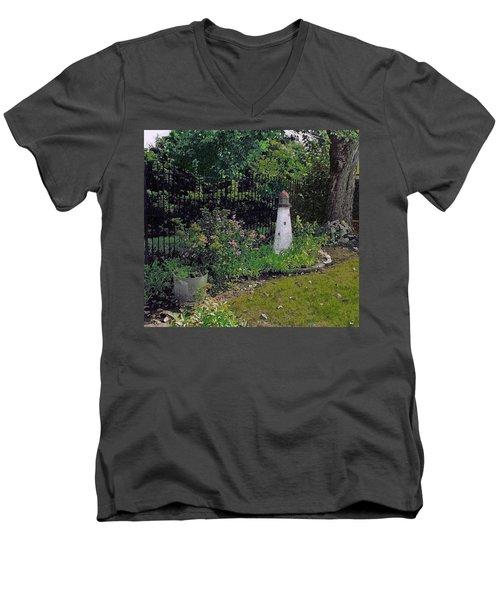Burnside Garden Lighthouse Men's V-Neck T-Shirt by Cedric Hampton