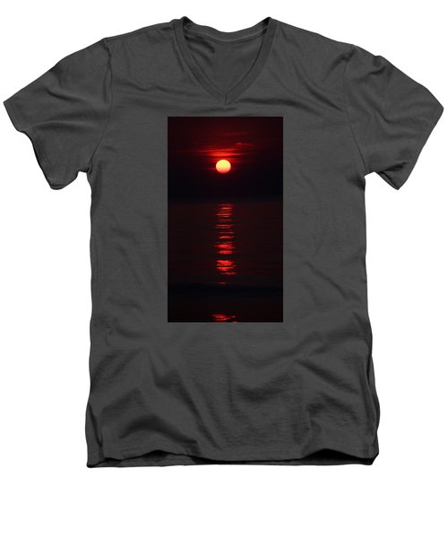 Burnt Orange Sunrise Men's V-Neck T-Shirt