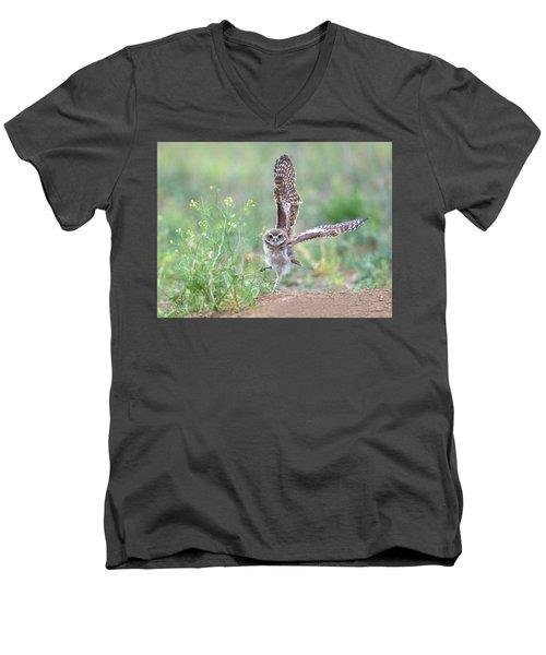 Burrowing Owl Spies Grasshopper Men's V-Neck T-Shirt