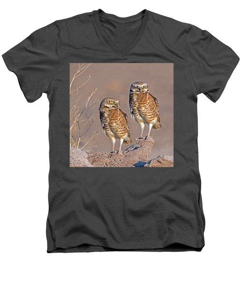 Burrowing Owls At Salton Sea Men's V-Neck T-Shirt