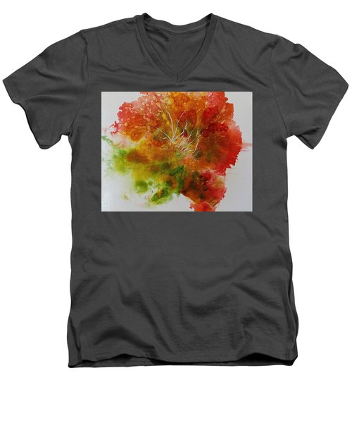 Men's V-Neck T-Shirt featuring the painting Burst Of Nature by Carolyn Rosenberger