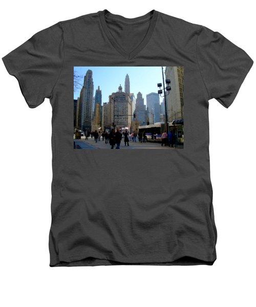 Bus On Miracle Mile  Men's V-Neck T-Shirt