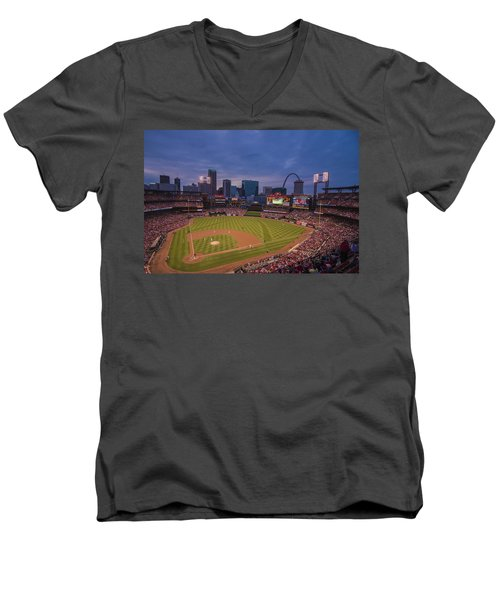 Busch Stadium St. Louis Cardinals Ball Park Village Twilight #3c Men's V-Neck T-Shirt by David Haskett