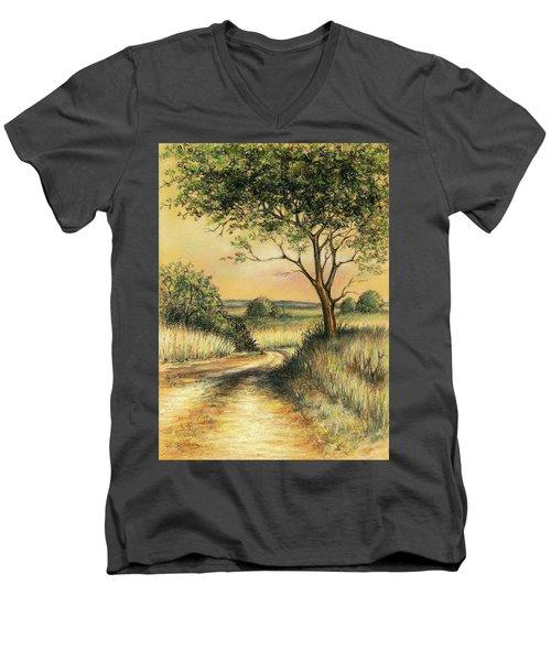 Men's V-Neck T-Shirt featuring the drawing Bushveld by Heidi Kriel