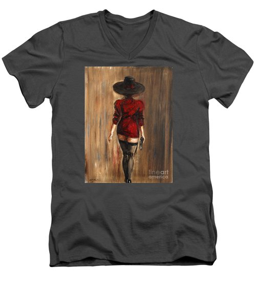 Men's V-Neck T-Shirt featuring the painting Business Lady by Arturas Slapsys