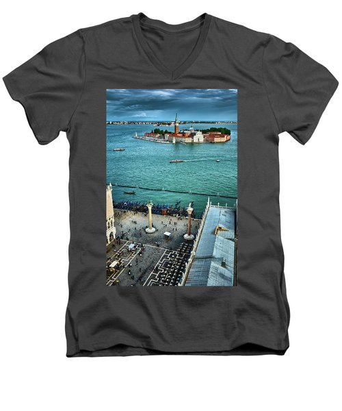 Piazza San Marco And San Giorgio Di Maggiore From The Bell Tower In Venice, Italy Men's V-Neck T-Shirt