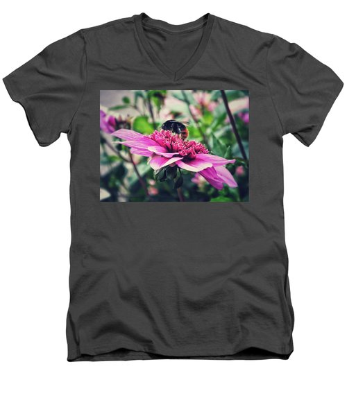 Men's V-Neck T-Shirt featuring the photograph Busy, Busy Bee by Karen Stahlros