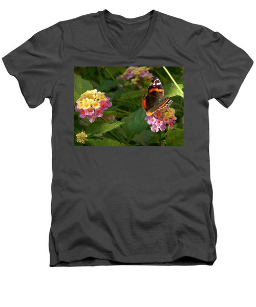 Busy Butterfly Side 1 Men's V-Neck T-Shirt by Felipe Adan Lerma