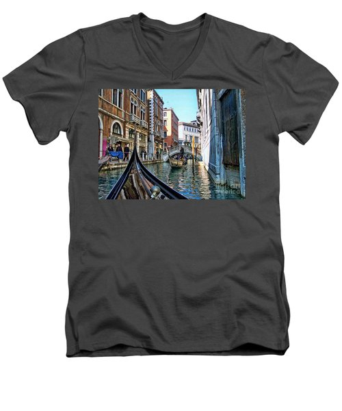 Men's V-Neck T-Shirt featuring the photograph Busy Canal by Roberta Byram