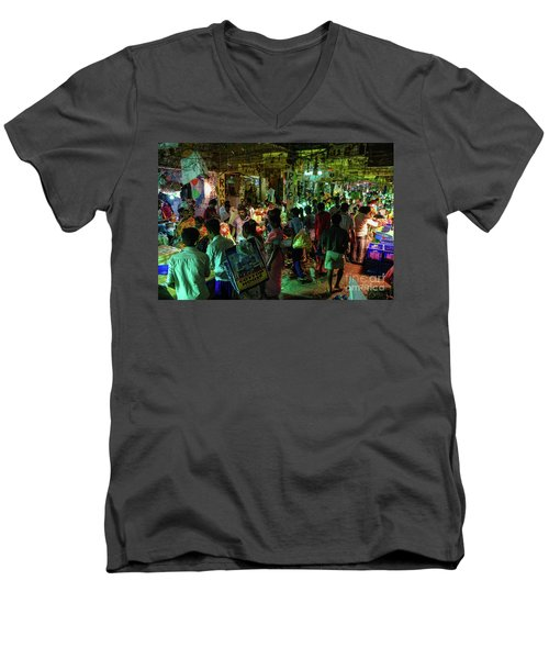 Men's V-Neck T-Shirt featuring the photograph Busy Chennai India Flower Market by Mike Reid