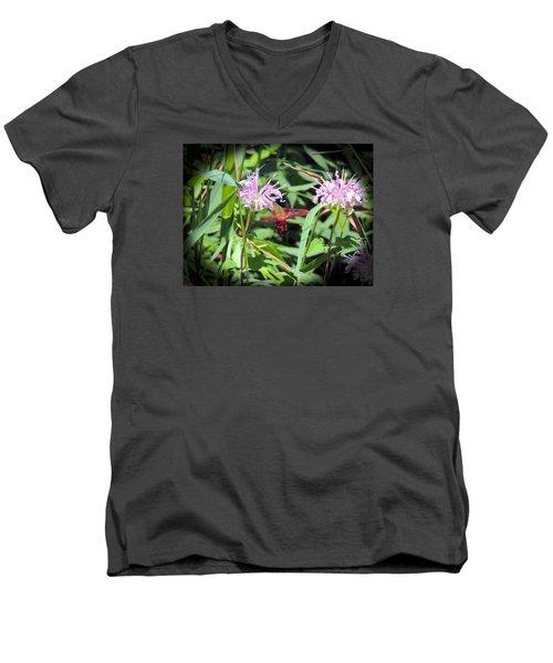 Busy Hummingbird Moth Men's V-Neck T-Shirt by Teresa Schomig