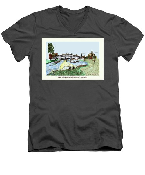 Busy Richmond Bridge Men's V-Neck T-Shirt
