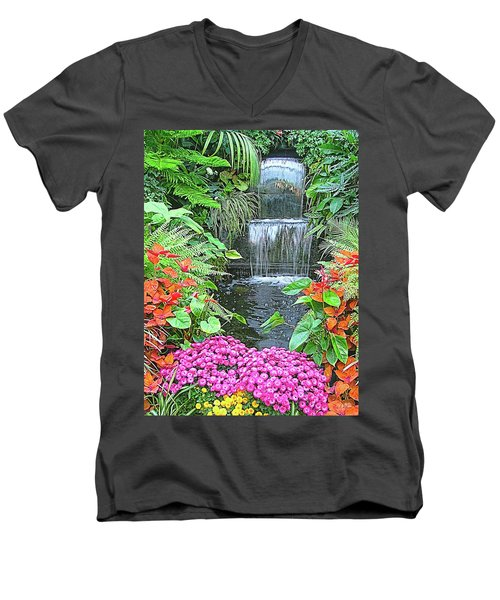 Butchart Gardens Waterfall Men's V-Neck T-Shirt