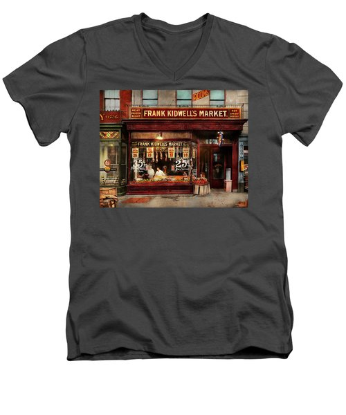Men's V-Neck T-Shirt featuring the photograph Butcher - Meat Priced Right 1916 by Mike Savad